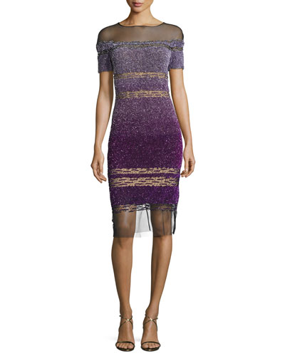 Short-Sleeve Signature Ombre Sequin Dress, Purple