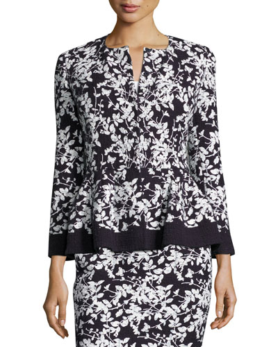 Floral-Print Bracelet-Sleeve Jacket, Navy/White