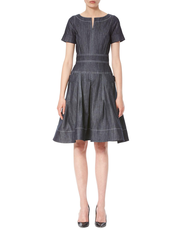 Topstitched Short-Sleeve Denim Dress