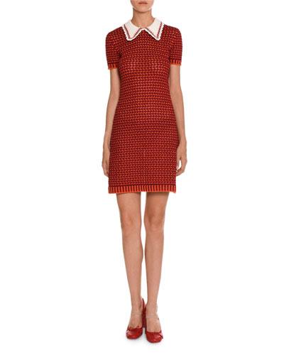 Short-Sleeve Crocheted Polo Dress, Orange/Red