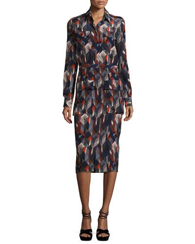 Geometric-Print Silk Shirtdress, Multi