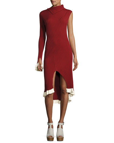 Knit One-Sleeve Asymmetric Dress, Henna