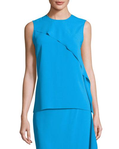 Asymmetric Ruffle-Trim Blouse, Turquoise