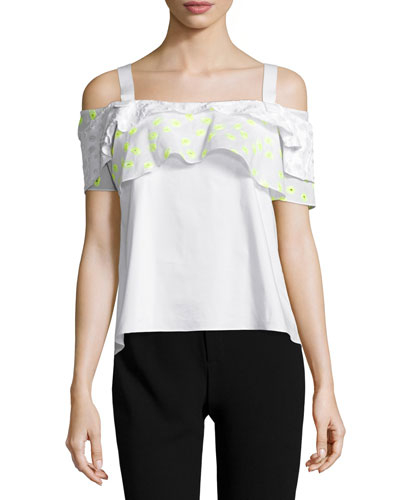 Ruffled Cold-Shoulder Top, White/Yellow