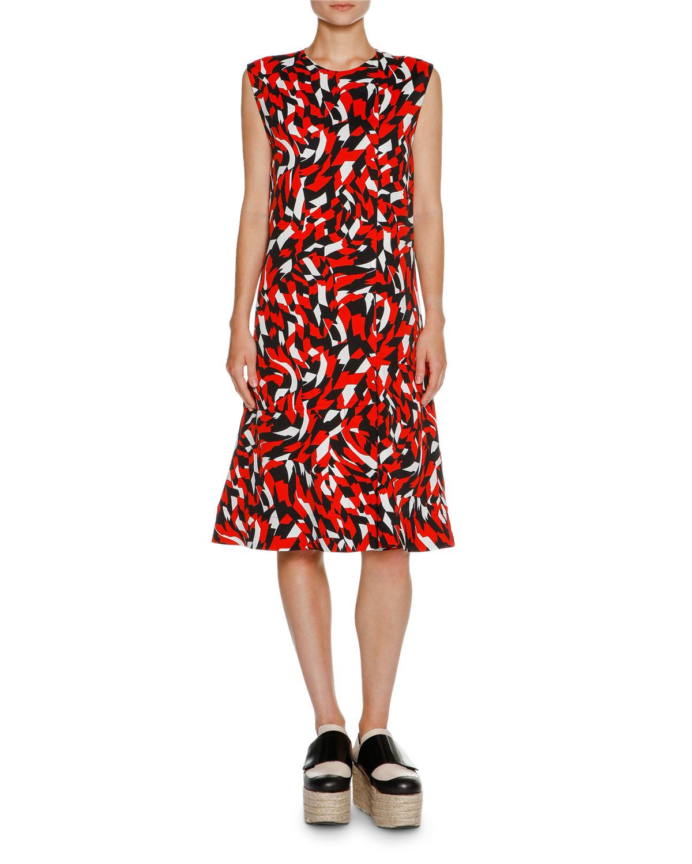 Shatter-Print Sleeveless Dress, Red Geo