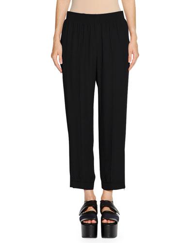 Pleat-Front Cropped Pants, Black