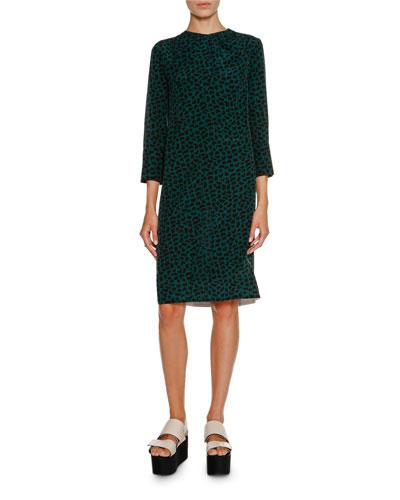 Geometric-Print Bracelet-Sleeve Dress, Green