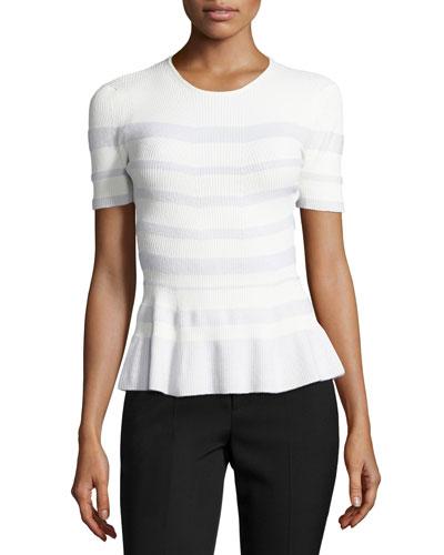 Stripe-Knit Peplum Top, White