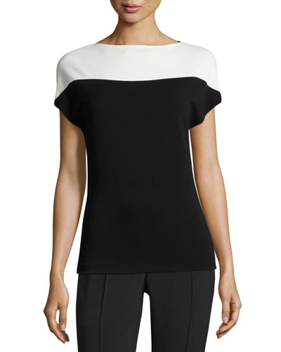 Crepe Jersey Cap-Sleeve Top, Black/White