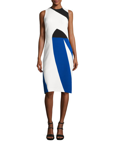 Colorblock Crepe Sleeveless Sheath Dress, Multicolor