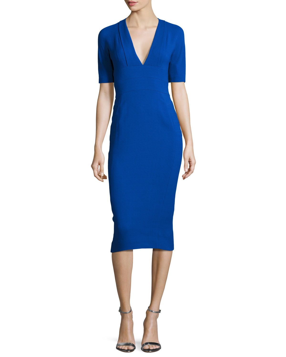 Narciso Rodriguez CREPE SHORT-SLEEVE SHEATH DRESS, COBALT