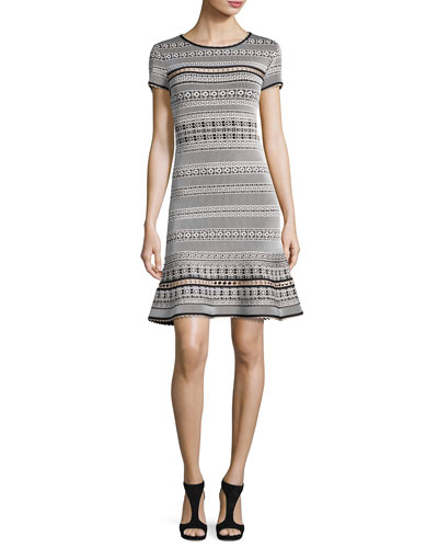 Short-Sleeve Flared Jacquard Dress, Black/White