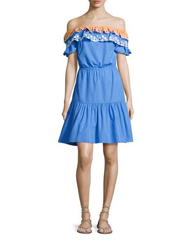 Embroidered Off-Shoulder Dress