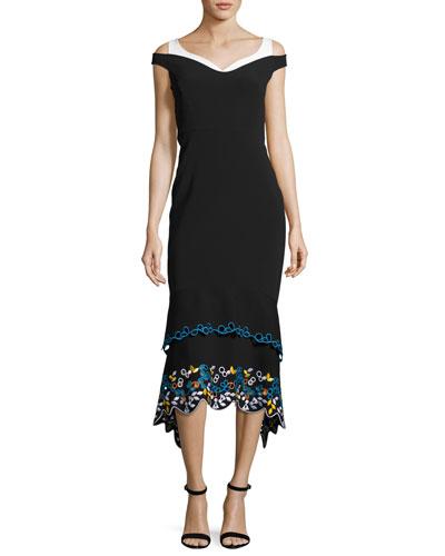 Off-Shoulder Embroidered Cady Midi Dress, Black