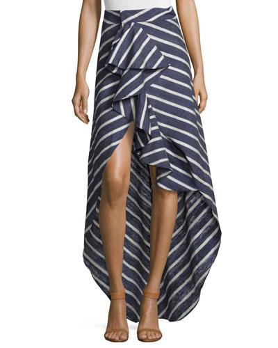 High-Low Striped Silk Midi Skirt, Navy