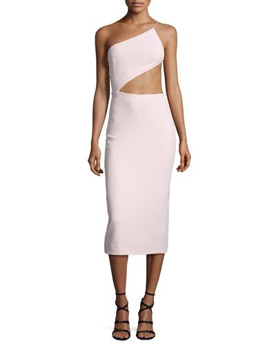 One-Shoulder Open-Back Cady Dress, Light Pink