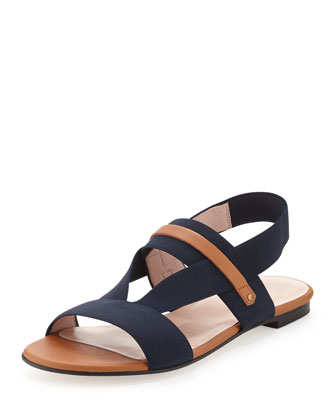Here to Stay Stretch Slingback Sandal, Navy