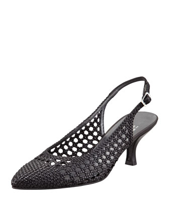 Meeting Woven Leather Kitten-Heel Slingback, Black