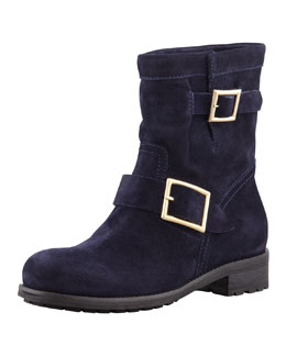 Jimmy Choo Youth Suede Flat Biker Boot, Navy