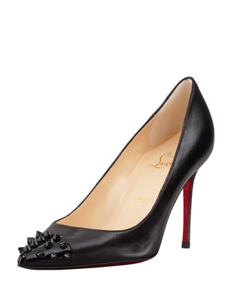 Geo Spike Point-Toe Red Sole Pump, Black