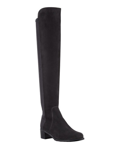Reserve Wide Suede Stretch-Back Over-the-Knee Boots, Black