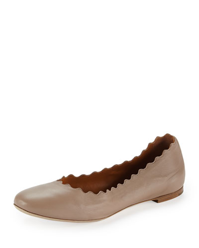 Scalloped Leather Ballerina Flat, Skin Beige