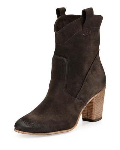 Chiara Slouchy Suede Ankle Boot, Anthracite