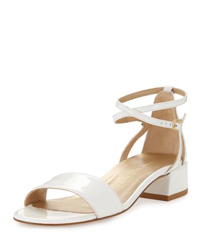 Peewee Patent City Sandal, White