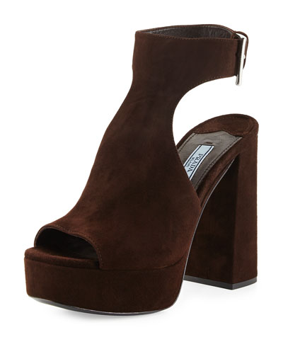 Suede Ankle-Wrap Sandal, Brown (Moro)