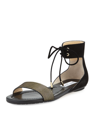Nanson Striped Flat Sandal, Black/Gold