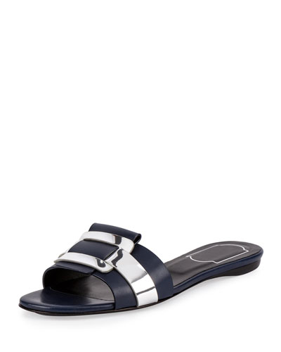 Pilgrim Jour Leather Flat Slide Sandal, Blue/Silver