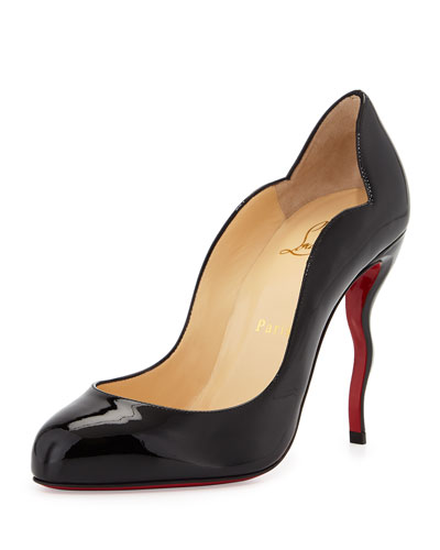 Wawy Dolly Patent Squiggly-Heel Red Sole Pump, Black