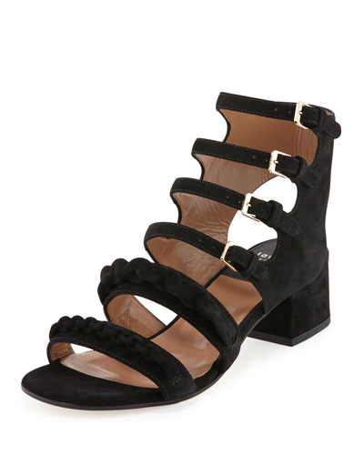 Kemo Suede Chain Strappy Sandal, Black