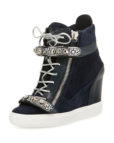 Tiana Crystal High-Top Wedge Sneaker, Navy