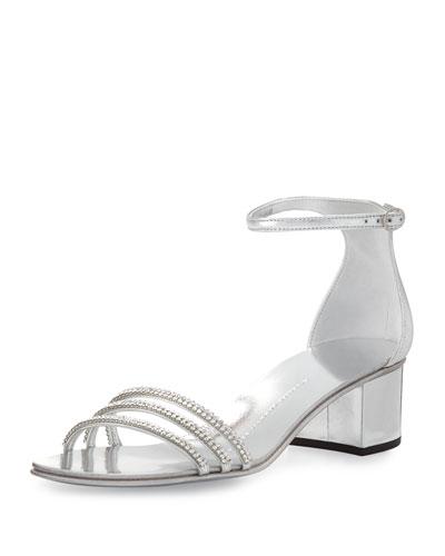 Crystal-Embellished Block-Heel Sandal, Silver