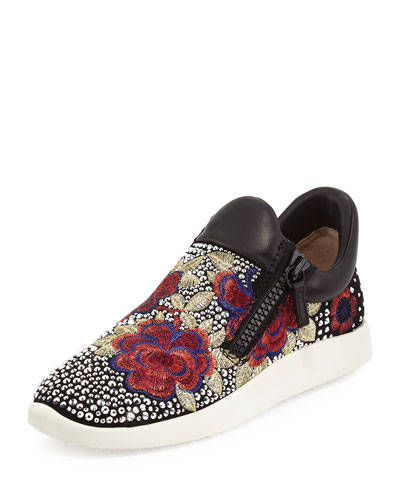 Embellished Floral-Embroidered Sneaker, Black