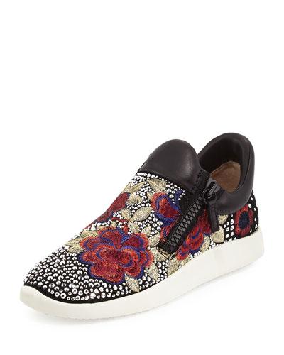 Embellished Floral-Embroidered Sneaker, Black