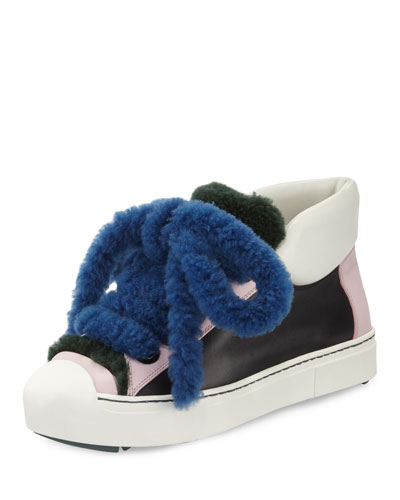 Shearling High-Top Sneaker, Nero/Cotton Candy