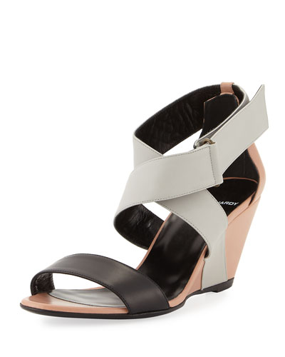Crisscross Striped Leather Sandal