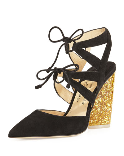 Ronja Suede Lace-Up Glitter-Heel Pump, Black