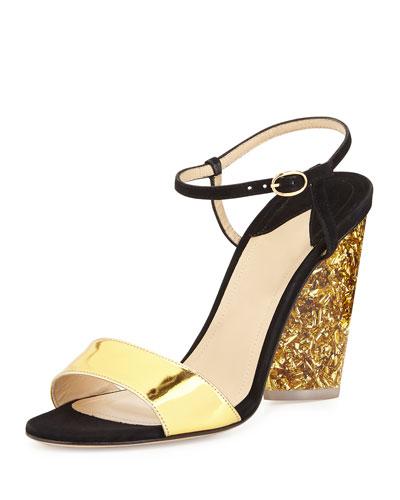 Parker Tie-Front Glitter-Heel Sandal, Black/Gold