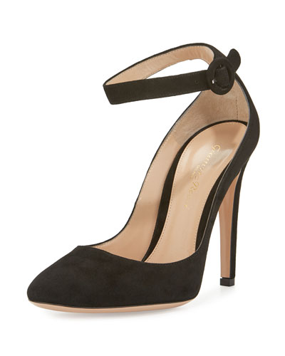 Suede Ankle-Wrap 105mm Pump, Black