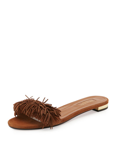 Wild Thing Suede Flat Slide Sandal, Brown