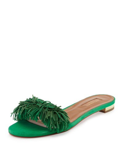 Wild Thing Suede Flat Slide Sandal, Green
