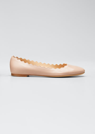 Lauren Scalloped Leather Ballerina Flat