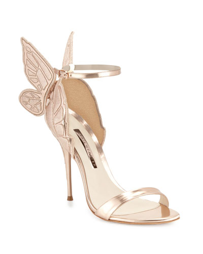 Chiara Butterfly Wing Ankle-Wrap Sandals
