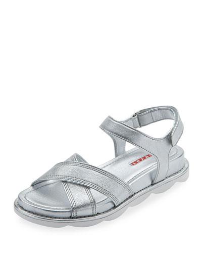 Metallic Crisscross Flat Sandal