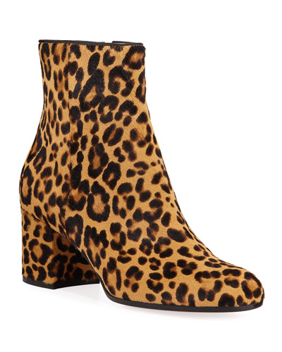Leopard-Print Calf Hair Booties