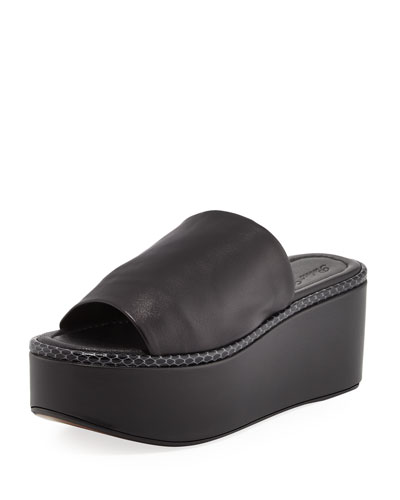 Flore Leather Platform Sandal, Black