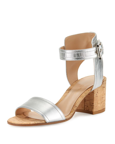 Rikki Low Metallic 60mm Chunky-Heel Sandal, Silver